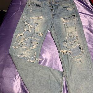 Super distressed American eagle jeans